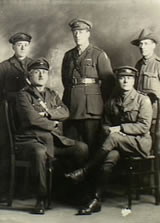 The five Leane brothers who served during the First World War. Lieutenant Colonel Raymond Leane is the figure standing in the centre